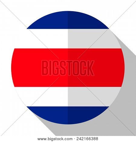 Flag Costa Rica - round flatstyle button with a shadow.