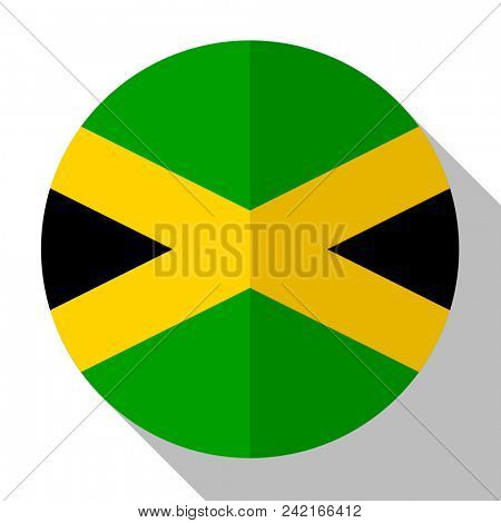 Flag Jamaica - round flatstyle button with a shadow.