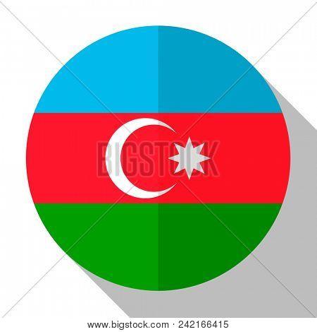 Flag Azerbaijan - round flatstyle button with a shadow.
