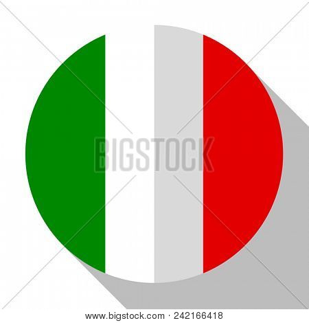 Flag Italy - round flatstyle button with a shadow.