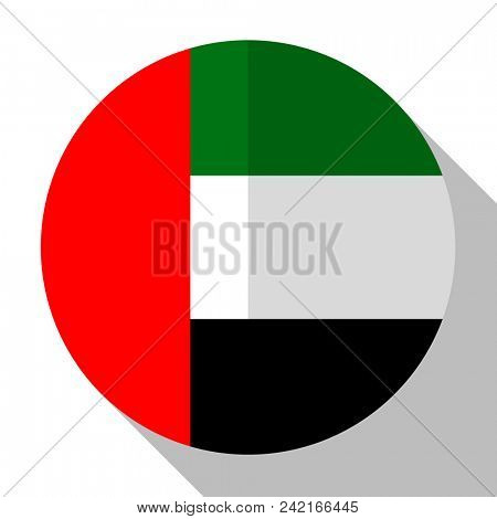 Flag UAE  - round flatstyle button with a shadow.