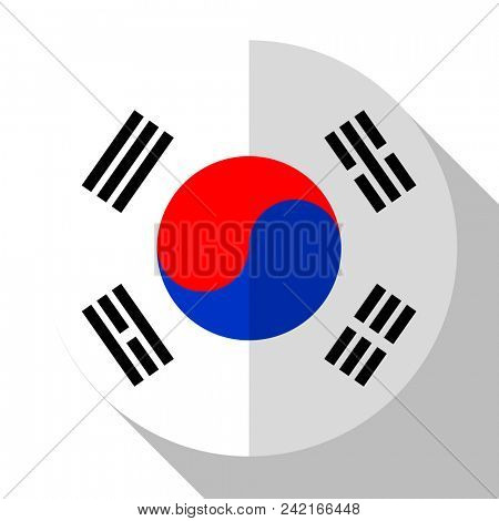 Flag South Korea - round flatstyle button with a shadow.