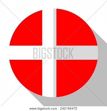 Flag Denmark - round flatstyle button with a shadow.
