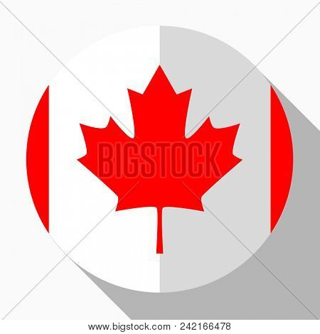 Flag Canada - round flatstyle button with a shadow.