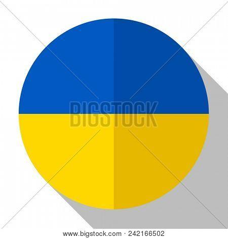 Flag Ukraine - round flatstyle button with a shadow.