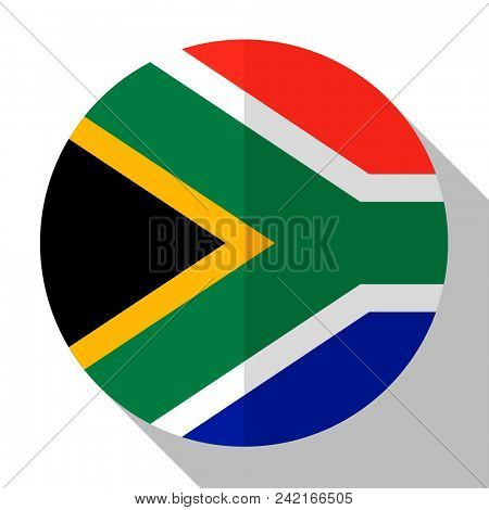 Flag South Africa - round flatstyle button with a shadow.