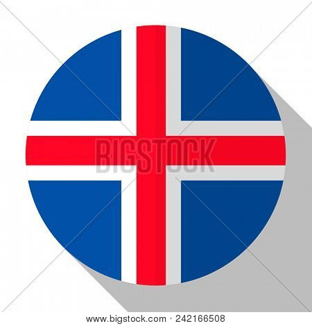 Flag Iceland - round flatstyle button with a shadow.