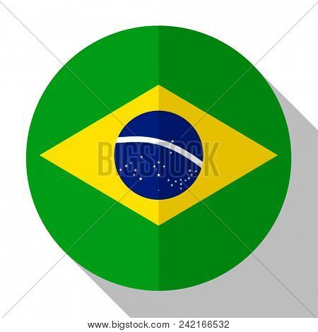 Flag Brazil - round flatstyle button with a shadow.