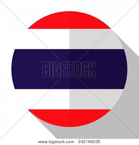 Flag Thailand - round flatstyle button with a shadow.
