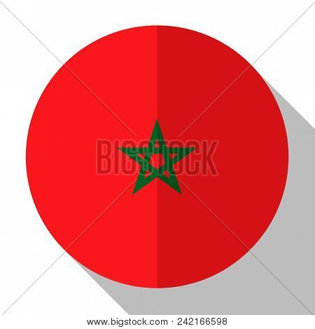 Flag Morocco - round flatstyle button with a shadow.