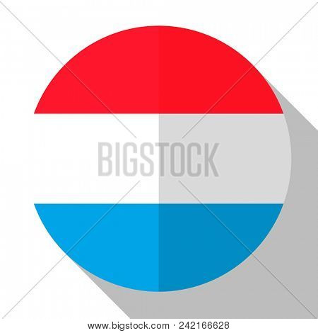Flag Luxembourg - round flatstyle button with a shadow.