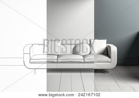 Three toned sofa design mockup with white through grey for a luxury living room interior. 3d rendering