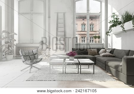 Elegant stylish monochrome white living room interior in an urban apartment with a comfortable sofa in front of tall bright windows with radiators, chair, and coffee table. 3d rendering