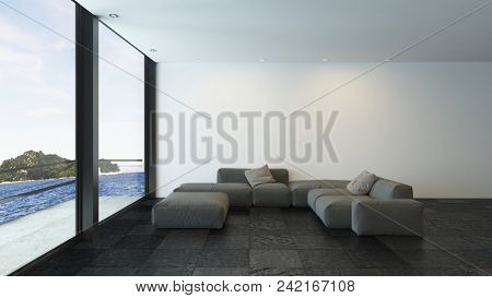 Black couch in modern white room with copyspace. 3d rendering