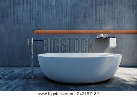 A modern, stylish, industrial polished concrete free standing bath and bathroom. 3d rendering