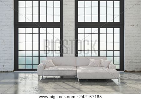 Bright airy minimalist modern attic conversion living room interior with a white sofa in front of large windows on a concrete floor. 3d rendering