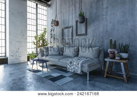 Cozy corner in a loft conversion living room with monochrome grey decor, cement walls and a couch in front of tall light windows surrounded by potted plants. 3d rendering