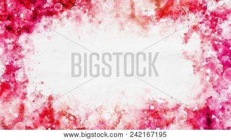 Colorful template with abstract red watercolor splashes pattern as a frame border, on white background