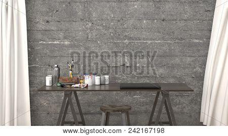 Hipster modern office or design studio interior with unfinished concrete walls, long white drapes and a trestle table with drawing equipment. 3d rendering