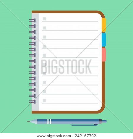 Notebook And Pen. Stock Flat Vector Illustration.