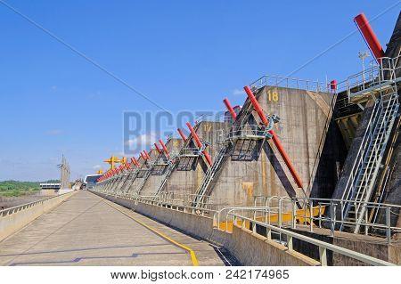 Salto, Uruguay, January 06, 2018: Hydro Electric Electricity Power Plant, Rio Uruguay Embalse Salto