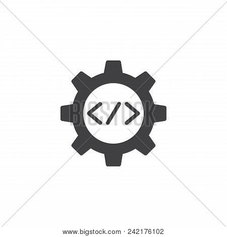 Code Gear Vector Icon. Filled Flat Sign For Mobile Concept And Web Design. Coding Settings Solid Ico