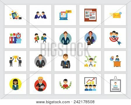 Leadership And Business Competition Concept. Flat Icon Set. Executive, Partnership, Staff. Can Be Us