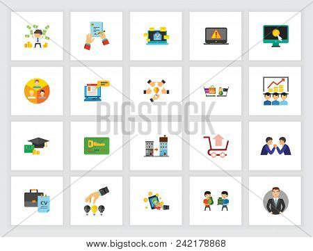 Recruitment And Work Concept. Flat Icon Set. Job, Occupation, Management. Can Be Used For Topics Lik