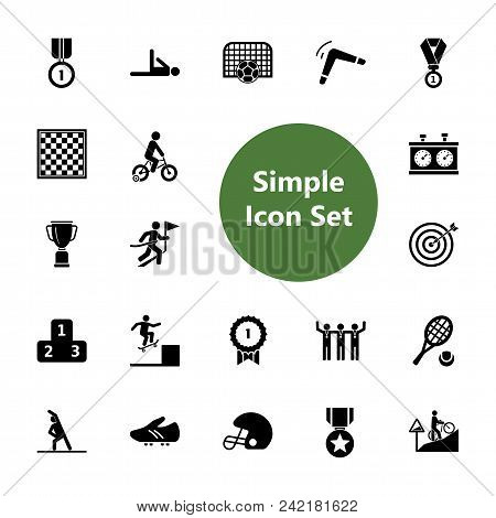 Icon Set Of Competitive Sports Illustration. Players And Awards, Competition, Championship. Sport Co