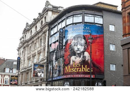 London, Uk - April 2018: Queens Theatre, West End Theatre Located In Shaftesbury Avenue On The Corne