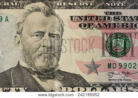 Portrait Of President Ulysses Grant On A $ 50 Bill. Close Up.