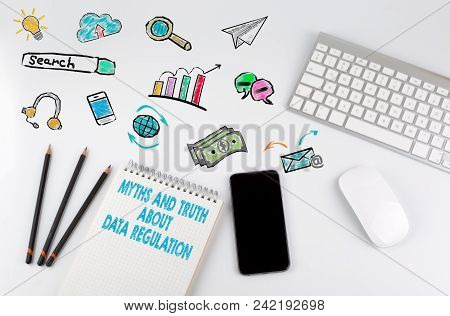 Myths And The About Data Regulation, General Data Protection Regulation, Gdpr Concept. Office Desk T