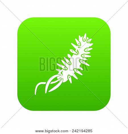 E Coli Bacteria Icon Green Vector Isolated On White Background