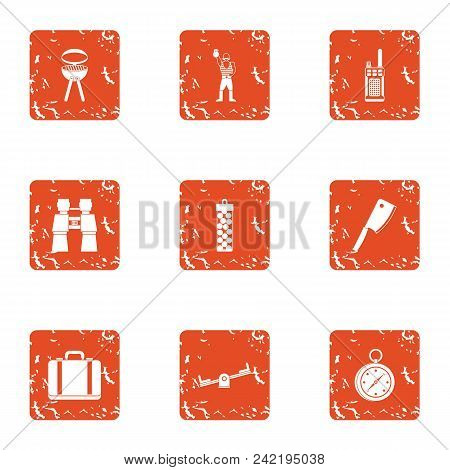 Repose Icons Set. Grunge Set Of 9 Repose Vector Icons For Web Isolated On White Background
