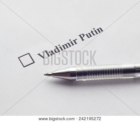 Inscription Vladimir Putin And Pen On A White Background