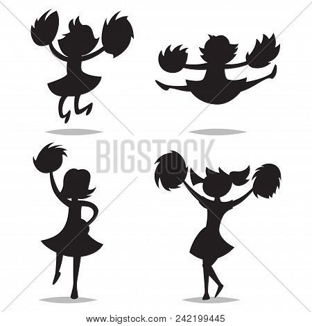 Cheerleaders With Pom-poms Black Silhouette Of Children. Vector Cartoon Kids Icons Isolated On White