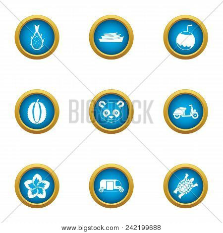 Holidays In Asia Icons Set. Flat Set Of 9 Holidays In Asia Vector Icons For Web Isolated On White Ba