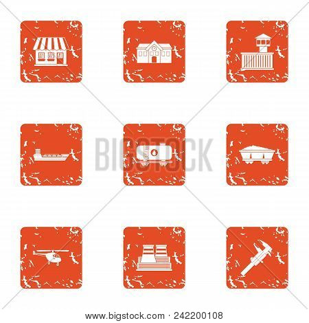 Industrial Complex Icons Set. Grunge Set Of 9 Industrial Complex Vector Icons For Web Isolated On Wh