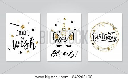 Vector Illustration Of A Happy Birthday Invitation Set. Greeting Cards With