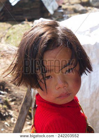 Tibetan Refugee Children From Tibet In Refugee Center. Darjeeling City,sikkim India , 16Th April 201