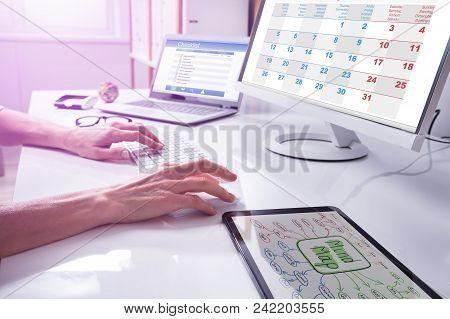 Businessperson's Hand Using Computer