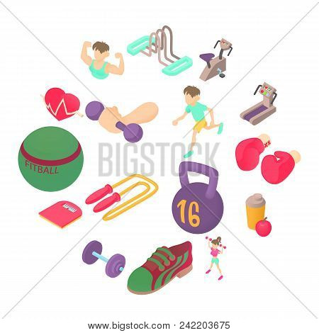 Fitness Icons Set In Isometric 3d Style. Sports Equipment Set Collection Vector Illustration