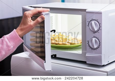 Close-up Of Woman Heating Fried Food In Microwave Oven At Home