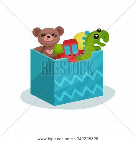 Blue Box Full Of Children Toys. Brown Teddy Bear, Green Dinosaur, Red Car And Rubber Balls. Items Fo