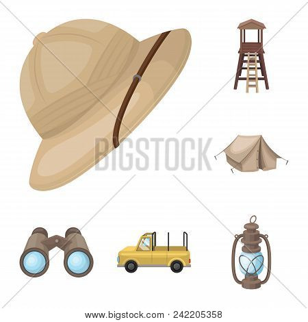 African Safari Cartoon Icons In Set Collection For Design. Trophies And Equipment For Safari Vector
