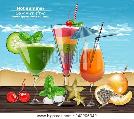 Summer Cocktail Drinks Vector Realistic Banner. Beach Hot Template With Exotic Tropical Drinks Colle