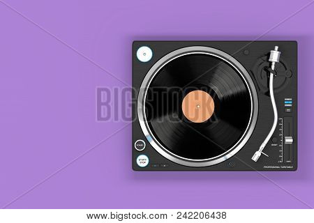 Professional Dj Turntable Vinyl Record Player On A Purple Background. 3d Rendering