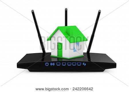Home Wireless Network Concept. House With Modern Wifi Router On A White Background. 3d Rendering