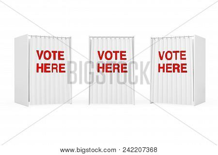 White Voting Booth With Curtain And Vote Here Sign On A White Background. 3d Rendering