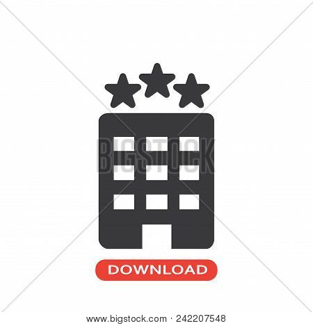 Hotel Vector Icon Flat Style Illustration For Web, Mobile, Logo, Application And Graphic Design. Hot
